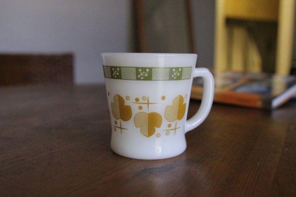 画像1: Fire-King シャムロック(Olive/Yellow Ochire)Dーハんドルグマグ (1)