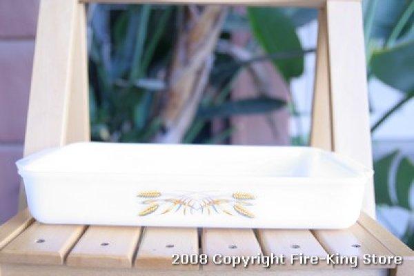 画像1: Fire-King Ovenware Dish ウィート柄(XL)フタなし (1)