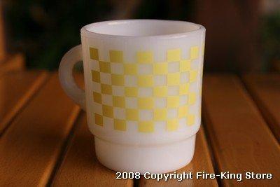 画像1: Fire-King スタッキングプリントマグ ブロックチェック7(Yellow)