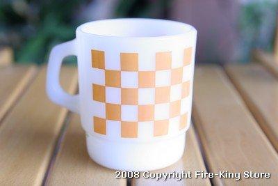 画像1: Fire-King スタッキングプリントマグ ブロックチェック5(Orange)