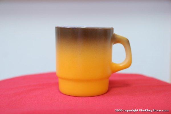 画像1: Fire-King スタッキングマグ(Brown Orange) (1)
