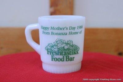 画像1: FireKing リブドスタッキングアドマグ BONANZA 1986(Freshtastiks Food Bar)